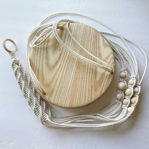 Macramé and Forest 2 Home lumber Ash wood premium hardwood custom hanging plant holder created by woodworker