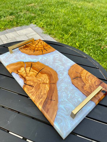 Forest 2 Home premium hardwood lumber and epoxy resin charcuterie board with live edge wood slabs
