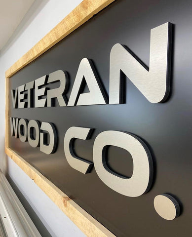Custom made, CNC machine cnc routed wood sign for woodworking shop made at woodworking business by veteran woodworker