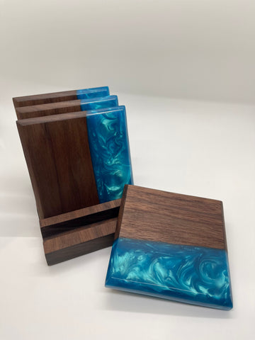 Forest 2 Home lumber Walnut wood coaster and blue river epoxy resin pour