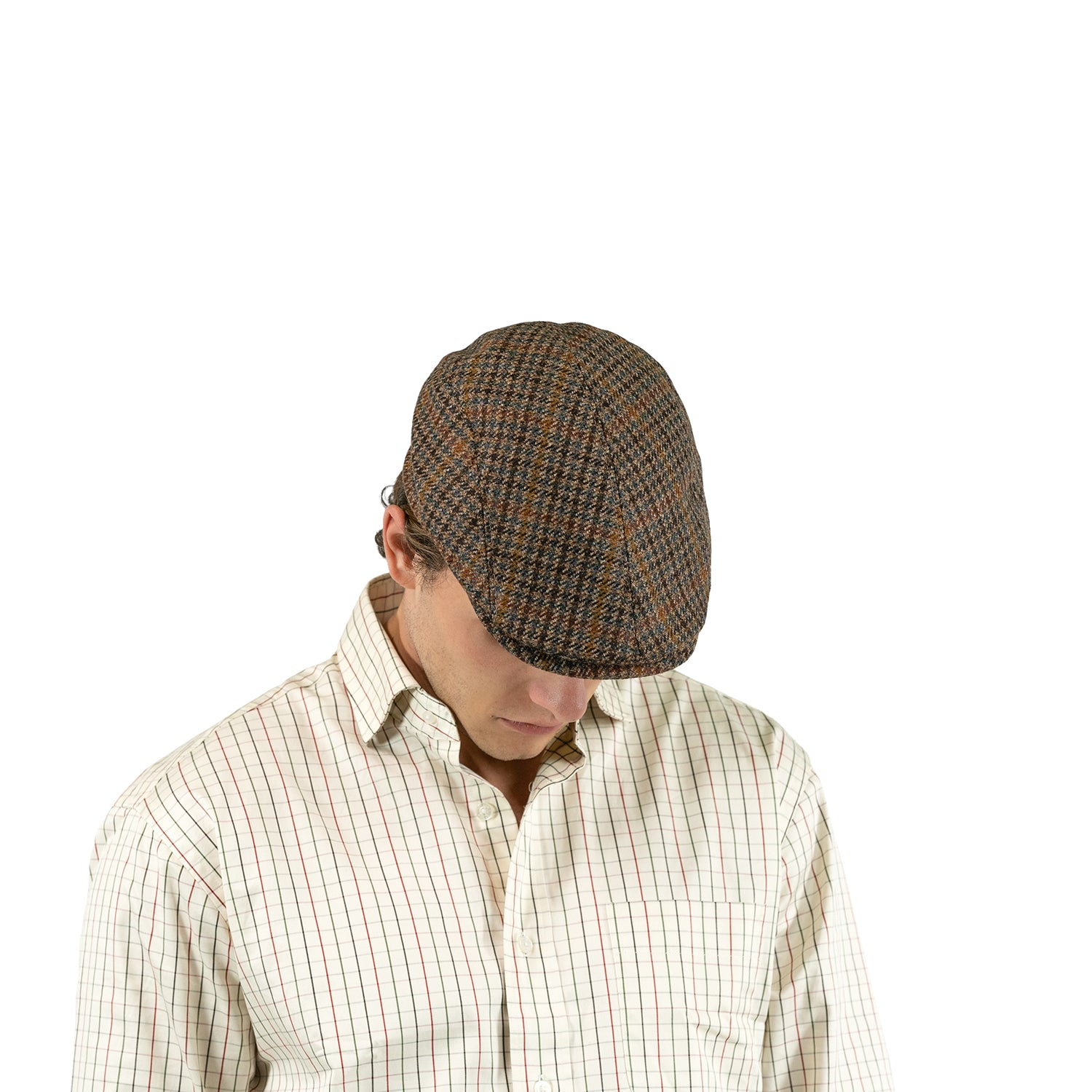 MJM Hatte Daffy 3 – 100% Eco Merino Wool (Sixpence) Brown Check