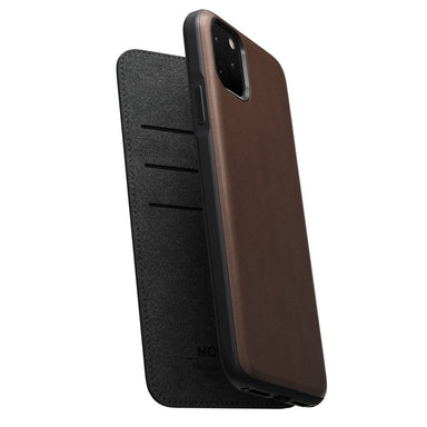 NOMAD - RUGGED LEATHER FOLIO FOR IPHONE 11 PRO MAX RUSTIC BROWN - Netnaturshop