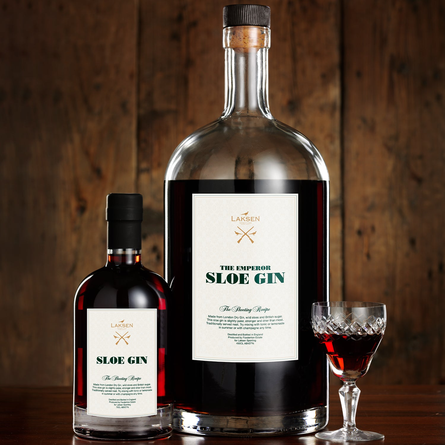 "Laksen Sporting Sloe Gin ""The Emperor"" 4.5 Liter, 27%"