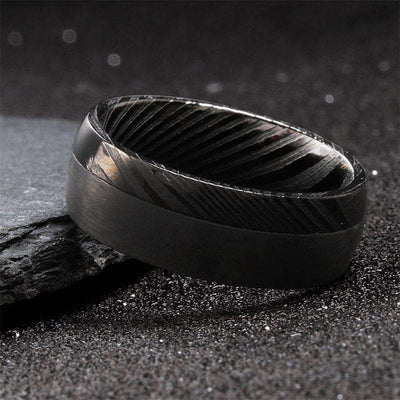Obsidian - The Ring Shop - Ring - Damascus, male, Ring, royal