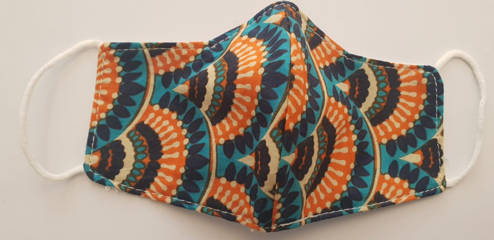 Face covering mask- Blue and Orange
