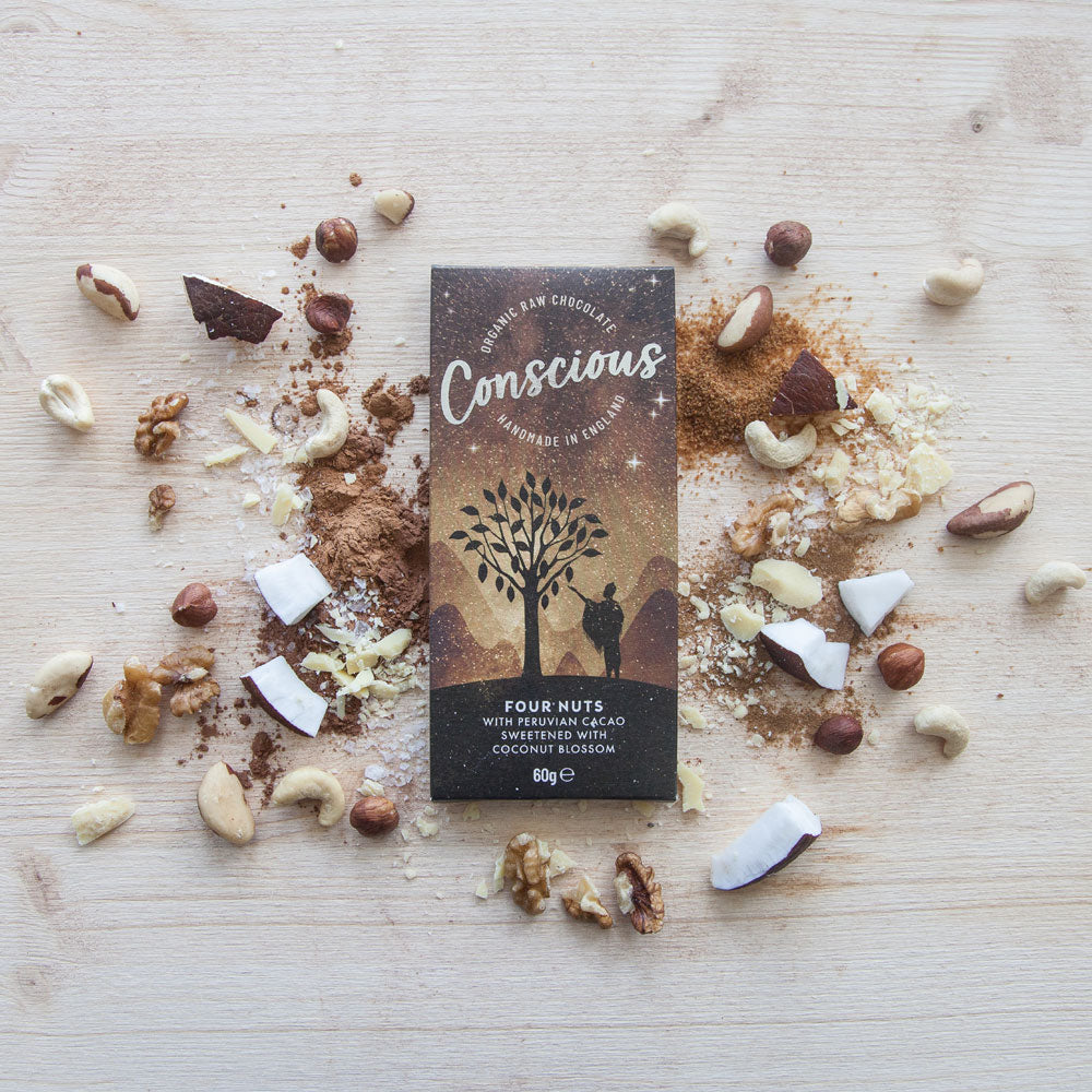 CONSCIOUS CHOCOLATE ORGANIC FOUR NUTS 60G