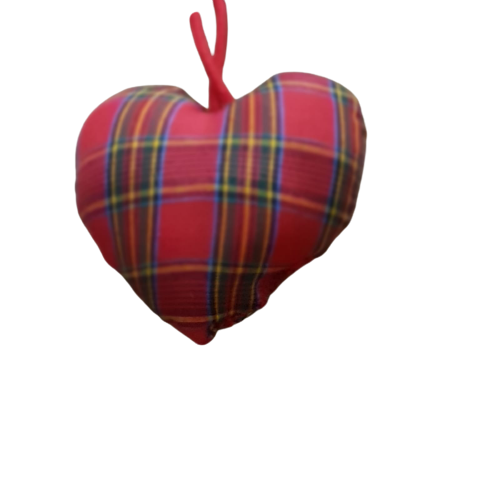 Checked Fabric Heart -Natural Christmas Tree Decorations