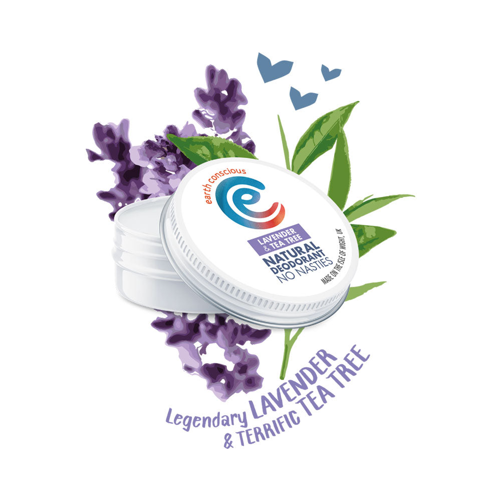 EARTH CONSCIOUS NATURAL LAVENDER & TEA TREE DEODORANT TIN 60G