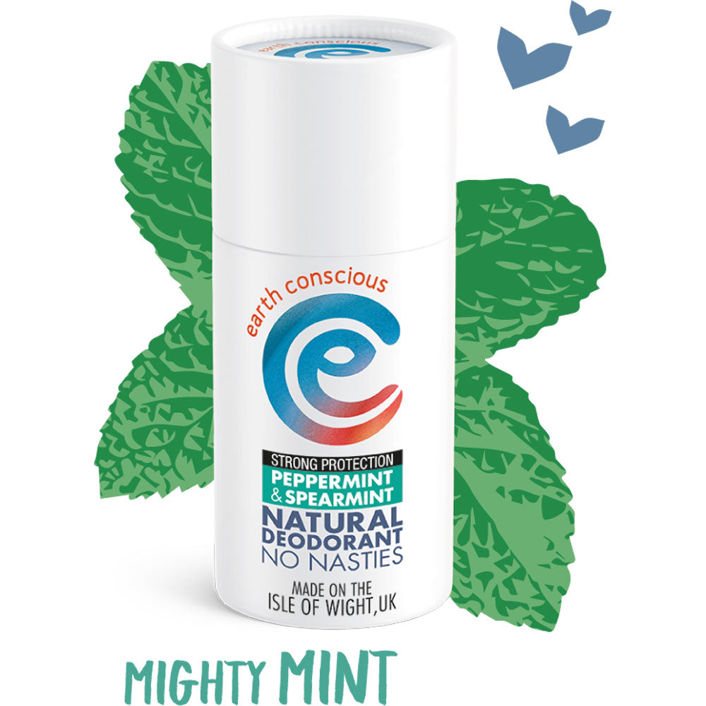 EARTH CONSCIOUS NATURAL PEPPERMINT & SPEARMINT STRONG PROTECTION DEODORANT STICK 60G