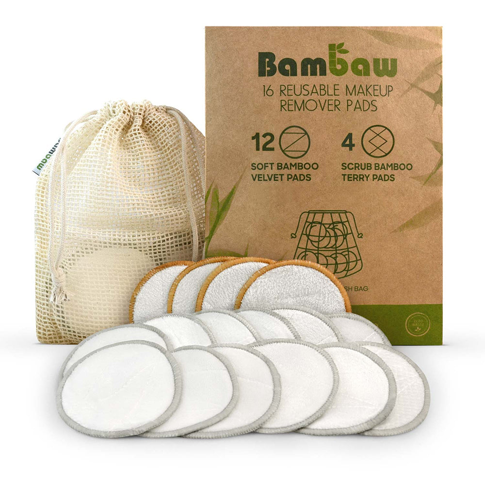 WASHABLE BAMBOO MAKEUP REMOVER PADS - PACK OF 16
