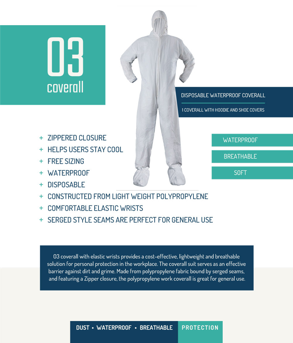 COVERALL WITH SHOE COVER 25/30/40/50/70 GSM