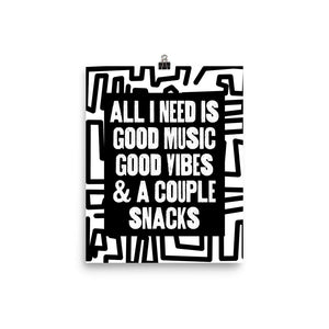 Open image in slideshow, All I Need Is Good Music Poster (Black & White Labyrinth)