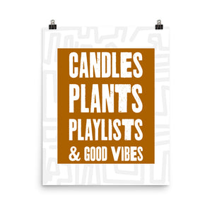 Open image in slideshow, Candles Plants & Playlists Poster (Brown with Grey Labyrinth)