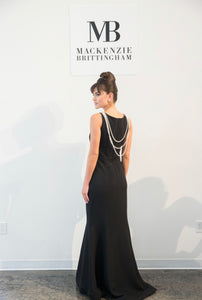 High neck Crepe Fitted Gown