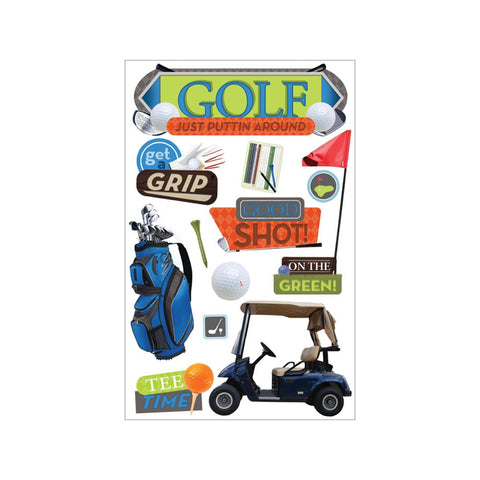 "Paper House 3D Stickers 4.5""X7.5"" - Golf"