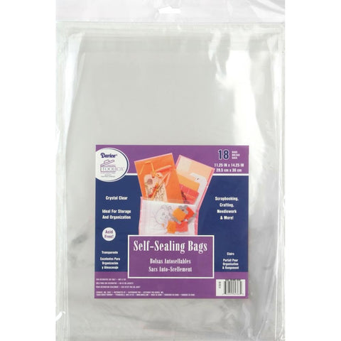 "Darice Self-Sealing Bags 18/Pkg 11.25""X14.25"" Clear"