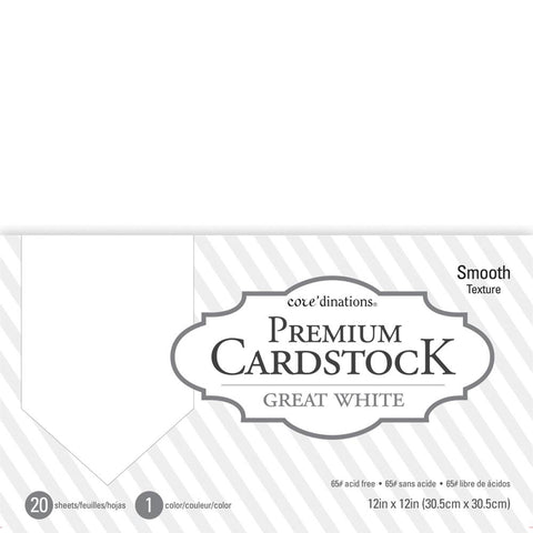 "Core'dinations Value Pack Smooth Cardstock 12""X12"" 20/Pkg Great White"