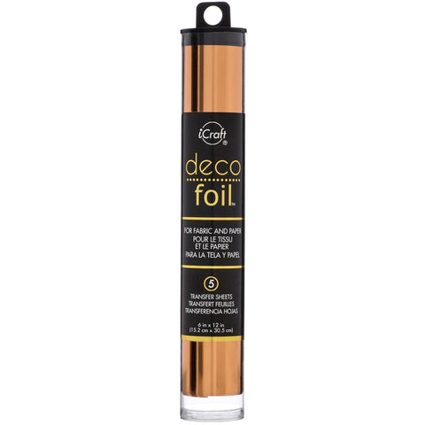 "Deco Foil Transfer Sheets 6""X12"" 5/Pkg - Copper"