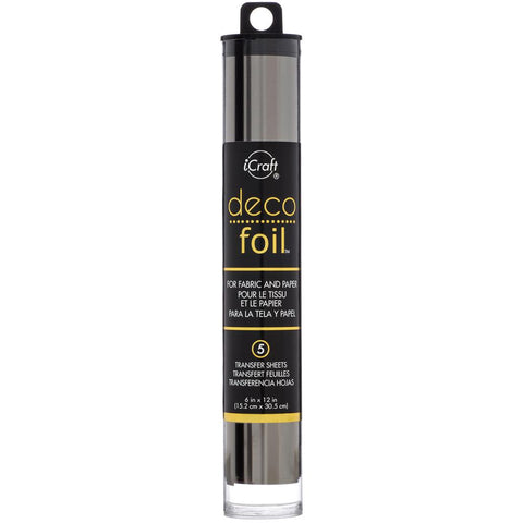 "Deco Foil Transfer Sheets 6""X12"" 5/Pkg - Pewter"