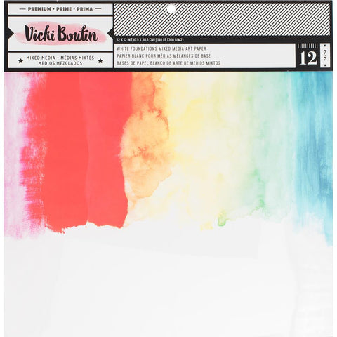"Vicki Boutin Mixed Media Foundations Paper 12""X12"" 12/Pkg - Smooth White, 140lb"