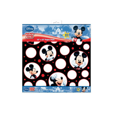 "EK Disney Paper Pack 12""X12"" 10/Pkg - Mickey Black, White & Red; 5 Designs/2ea"