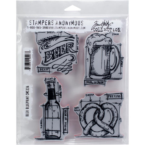 "Beer Blueprint Tim Holtz Cling Stamps 7""X8.5"""