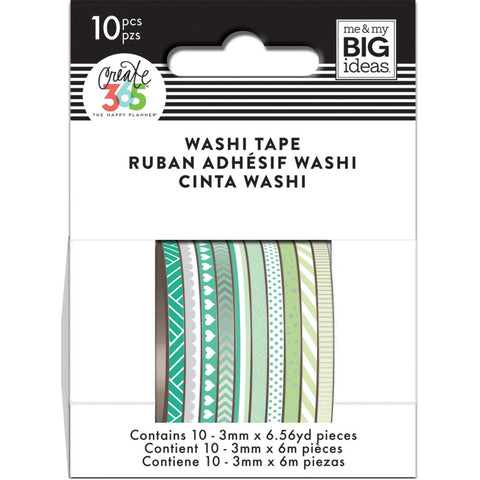Happy Planner Mini Washi Tape 3mmx6.56yd Each 10/Pkg Green Hues