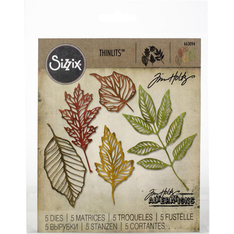 Sizzix Thinlits Dies By Tim Holtz 5/Pkg Skeleton Leaves