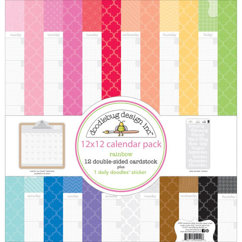 "Doodlebug CALENDAR - Double-Sided Paper Pack 12""X12"" 13/Pkg"