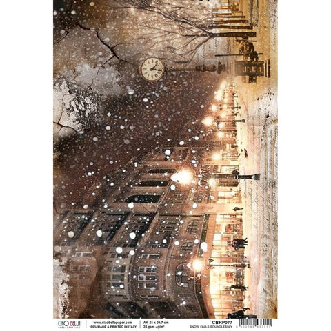 Ciao Bella, SNOW & THE CITY, Snow Falls Soundlessly - Rice Paper Sheet A4
