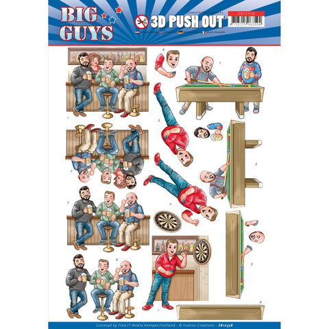 Pub Night, Big Guys - Find It Trading Yvonne Creations Punchout Sheet