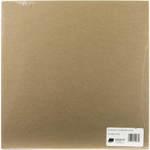 "Grafix Medium Weight Chipboard Sheets 12""X12"" 25/Pkg Natural"