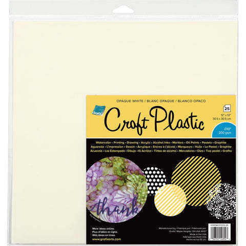 "Grafix Craft Plastic Sheets 12""X12"" 25/Pkg -White"