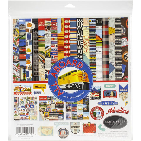 "Carta Bella Collection Kit 12""X12"" - ALL ABOARD"
