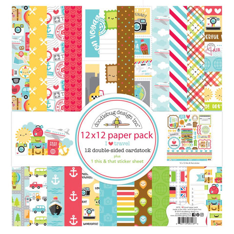 "Doodlebug Double-Sided Paper Pack 12""X12"" 12/Pkg I Heart Travel"