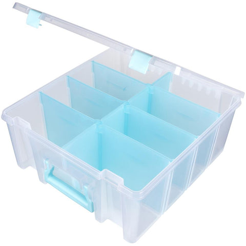 ArtBin Super Satchel Double Deep W/Removable Dividers Aqua Handle, Latch & Dividers