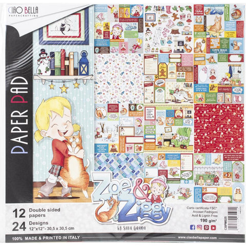 "Ciao Bella, ZOE & ZIGGY - Double-Sided Paper Pack 90lb 12""X12"" 12/Pkg"