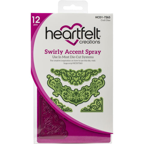 "Heartfelt Creations Frame & Accents Dies Swirly Accent Spray 1.5"" To 6.25"""