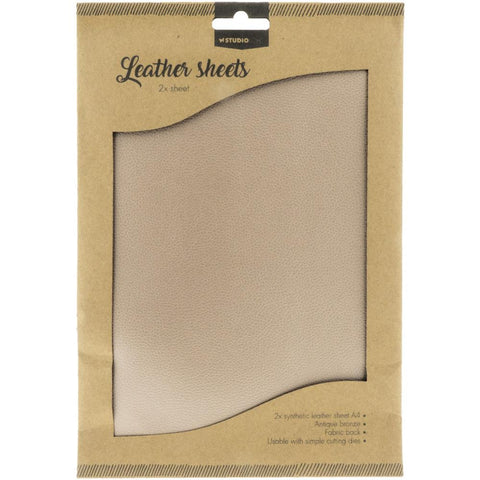 Studio Light Faux Leather Sheets A4 2/Pkg - Antique Bronze