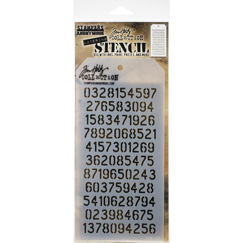 "Tim Holtz Layered Stencil 4.125""X8.5"" Digits -Layered"