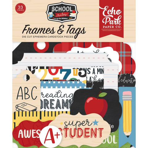 Frames & Tags, School Rules - Echo Park Cardstock Ephemera 33/Pkg