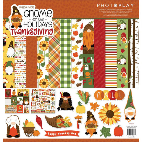 "PhotoPlay Collection Pack 12""X12"" Gnome For Thanksgiving"