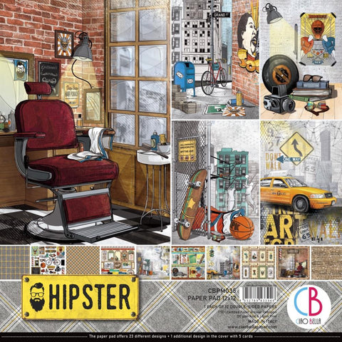 "Ciao Bella, HIPSTER - Double-Sided Paper Pack 90lb 12""X12"" 12/Pkg"