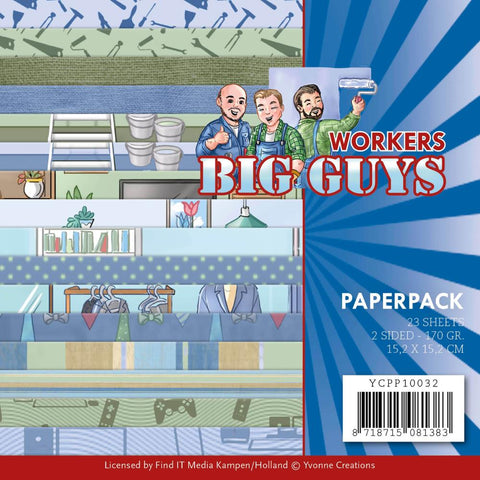 "Find It Trading Yvonne Creations Paper Pack 6""X6"" 23/Pkg Big Guys Workers, Double-Sided"
