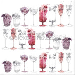 """Alexandra Renke Cocktails Design Paper 12 """"X12"""" - Berry Cocktails Scetches"""