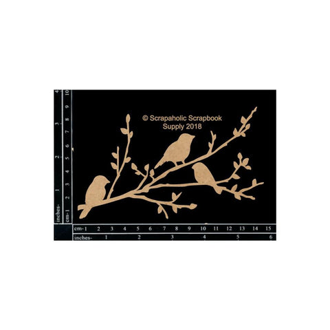 "Scrapaholics Laser Cut Chipboard 1.8mm Thick Birds On Branch, 6""X3.75"""