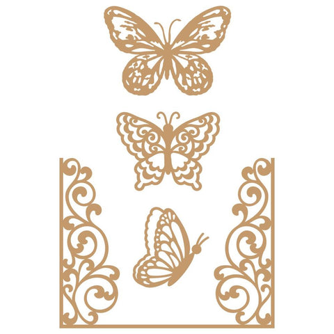 Prima Marketing Laser Cut Chipboard Butterfly Flight, 4/Pkg
