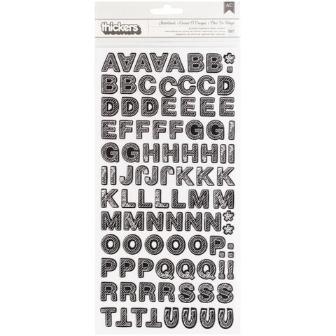 American Crafts Thickers Stickers Sketchbook Charcoal Alphabet 187/Pkg