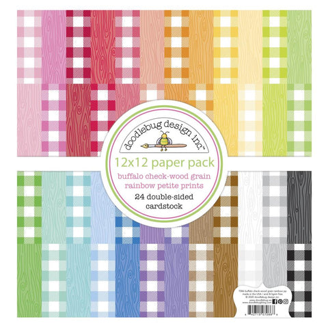 "Doodlebug Petite Prints Double-Sided Cardstock 12""X12"" 24/Pk Buffalo Check-Wood Grain Rainbow"