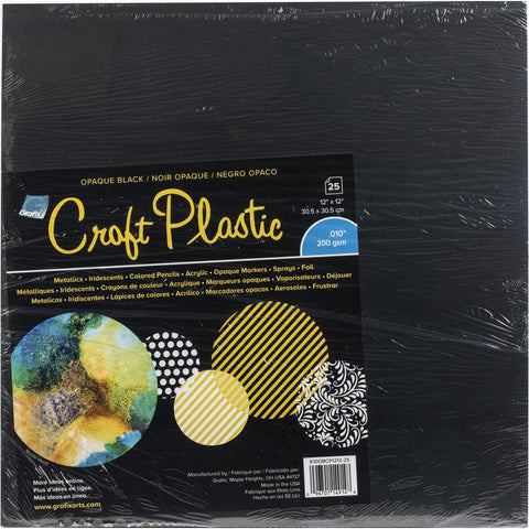 "Grafix Craft Plastic Sheets 12""X12"" 25/Pkg Opaque Black .010"